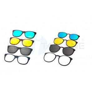 Clipon magnetiche polarizzato, specchiato, giallo, blu per occhiali Ultem